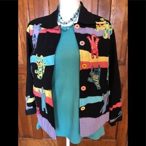 "LIFE STYLE Women's Jacket Size Petite Small ""Cats"""